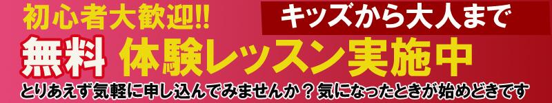 0円の無料体験レッスンを実施中。子供からおとなまでお好きなコースをお選びください
